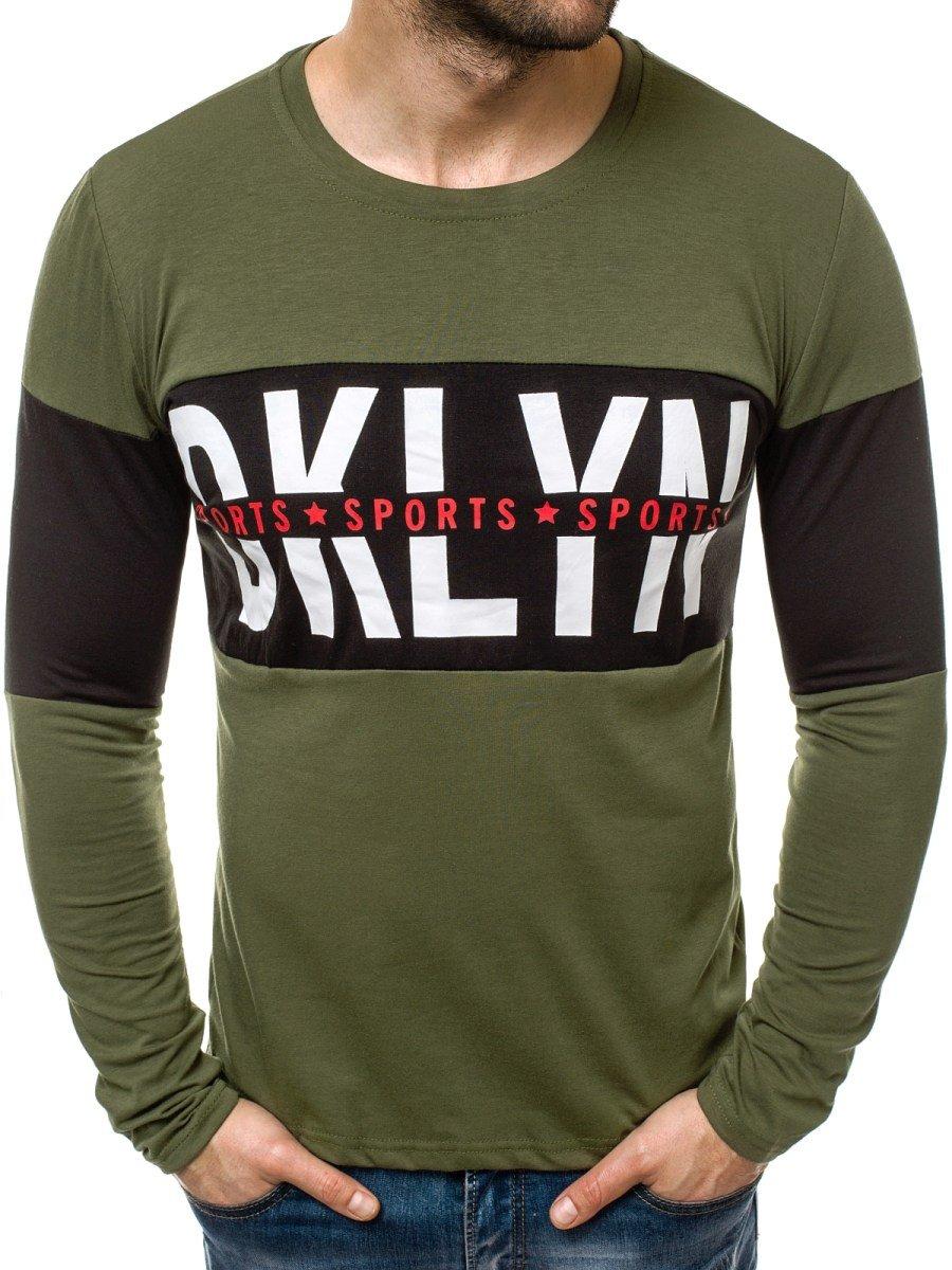 33cbf4806dd OZONEE JS/1090L Мъжка блуза с дълъг ръкав зелена | OZONEE.BG
